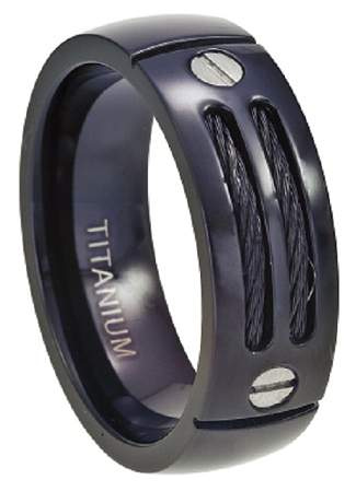 Black Titanium Cable Ring with Screw Accent
