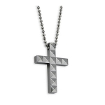 Men's Diamond Cut Tungsten Cross Necklace Pendant - JN1021