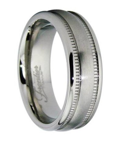Wedding Ring For Men In Titanium Satin Finish Milgrain