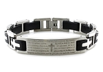 Stainless Steel Lord's Prayer ID Black Biker Bracelet 8.5