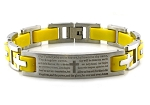 Stainless Steel Lord's Prayer ID Yellow Biker Bracelet 8.5