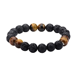 Men's Black Lava and Brown Tiger Eye Beads Bracelet
