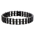 Men's Stainless Steel Black IP Double Motor Chain Design Bracelet