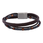 Men's Brown Braided Leather and Stone Beads Layered Bracelet with Steel Clasp