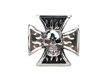 Men's Sovereign Steel Black Oxidized Iron Cross Skull Ring