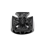 Men's Stainless Steel Black IP Matte Iron Cross Skull Ring