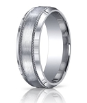 Argentium Silver Satin Center Wedding Ring with Decorative and Beveled Edge | 10mm - JBS1006