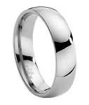 Comfort-fit Titanium Band with Domed Polished Finish – 6 mm
