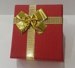 Linen Red Ring Box with Gold Bow