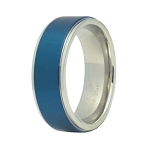 Blue Stainless Steel Wedding Band