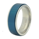 Blue Stainless Steel Spinner Ring