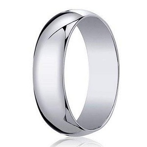 Designer 6 mm Traditional Domed Polished Finish 10K White Gold Wedding Band - JB1092