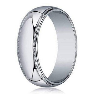 Designer 4 mm Traditional Fit Milgrain 10K White Gold Wedding Band - JB1095