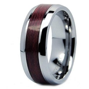 Men's 8mm Cobalt Chrome Ring with Brazilian Rosewood Center Inlay