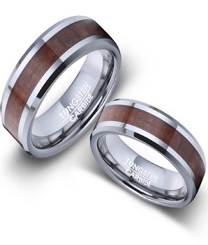 His and Hers Tungsten and Koa Wood Wedding Rings