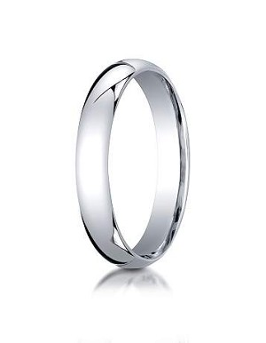 14K White Gold 4mm Slightly Domed Super Light Comfort-Fit Ring