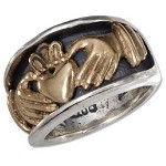 Men's Silver and Bronze Inset Claddagh Band - JP1849