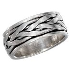 Men's Silver Braided Rope Spinner Band - JP2258