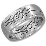 Stainless Steel Cut-out Tribal Ring - JP3065