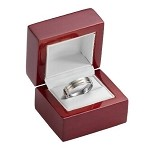 Rosewood Finished Ring Box with White Leather Lining - JRB0103