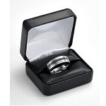 Black Faux Leather Ring Box with White Satin Lining - JRB0105