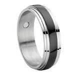 Stainless Steel Magnetic Ring With Black Enamel Inset - JSS0091