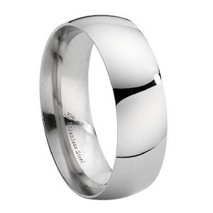 Stainless Steel High Polish Domed Wedding Ring - JSS0098
