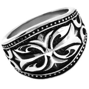 Antiqued Scroll Design Stainless Steel Ring - JSS0130
