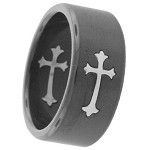 Black Stainless Steel Ring with Inlaid Gothic Cross - JSS0132