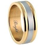 Two Tone Men's Stainless Steel Wedding Band with Rounded Edges