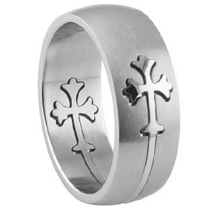 Men's Stainless Steel Cross Ring with Satin Finish and Lasered Cross Design | 8mm - JSS0149