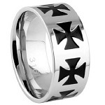 Stainless Steel Iron Cross Ring - JSS0610