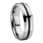 Beveled Edge Tungsten Ring with Black Enamel Stripe - JTG0049