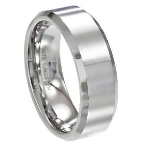 White Tungsten Ring for Men with Flat Satin Finish and Polished Beveled Edges | 8mm - JTG0066