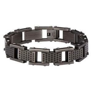 Men's Stainless Steel Multi-Hole Gun Metal Finish Link Bracelet