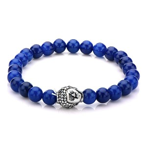 8mm Lapis Beads Bracelet with Stainless Steel Buddha Head Charm