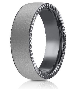 Tantalum 6.5mm Powder Coated Finish Riveted Coin Edge Design Ring