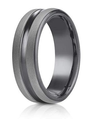 Forge Tantalum 6.5mm Powder Coated Finish Center Cut Design Ring