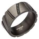 Men's Stainless Steel Gunmetal Finished Ring with Black CZ's
