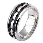 Men's Stainless Steel and IP Black Watch Link Ring
