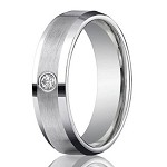 Designer Palladium Wedding Ring with Round Diamond, Satin Finish and Polished Edges | 4mm - JB01175
