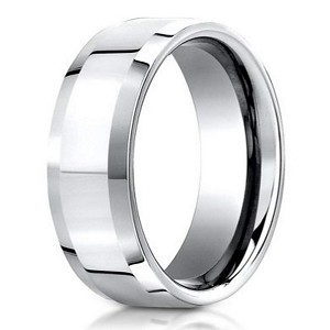 Palladium Wedding Ring with Polished Finish and Beveled Edges | 6mm - JB01176
