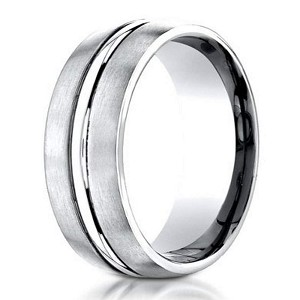 Designer 950 Platinum Men's Wedding Ring With Center Cut | 6mm