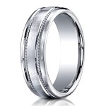 Designer 950 Platinum Men's Wedding Ring With Rope Detail | 7.5mm
