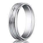 Designer 950 Platinum Men's Wedding Ring With Polished Trim | 6mm