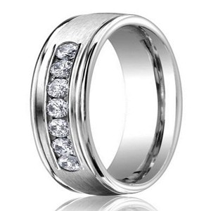 Designer 950 Platinum Men's Wedding Ring With Diamonds | 6mm
