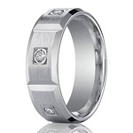 Designer 950 Platinum Burnish Diamond Men's Wedding Band | 8mm