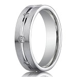 Designer 950 Platinum Center Trim Diamond Men's Wedding Ring | 6mm