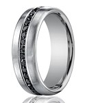 Designer 950 Platinum Black Diamond Eternity Wedding Band | 7.5mm