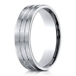 Designer Palladium Men's Wedding Ring With Parallel Cuts | 6mm